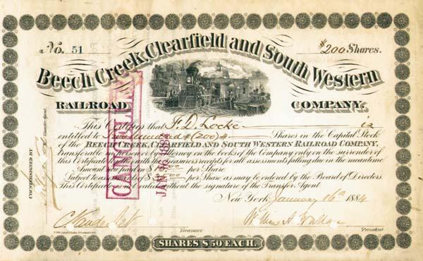 Cornelius Vanderbilt - Beech Creek, Clearfield and South Western Railroad - Stock Certificate