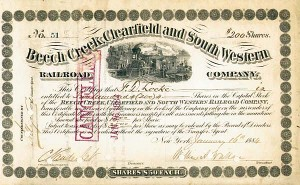Cornelius Vanderbilt - Beech Creek, Clearfield and South Western Railroad - Stock Certificate