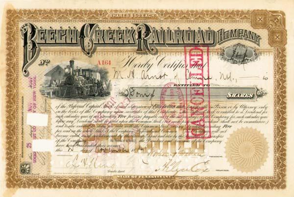 Cornelius  Vanderbilt - Beech Creek Railroad - Stock Certificate