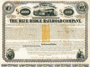 Henry Clews - Blue Ridge Railroad Bond