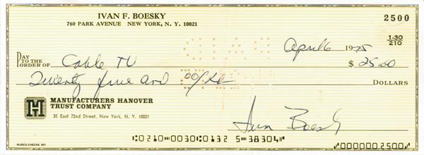 Ivan Boesky Signed Check