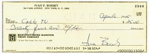 Ivan Boesky Signed Check