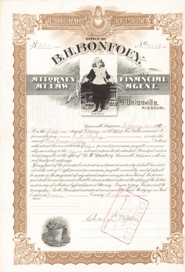 B. H. Bonfoey, Attorney at Law & Financial Agent of Unionville, Missouri - Bond - SOLD