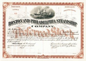 Boston and Philadelphia Steamship Company - Stock Certificate