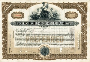 Boston Railroad Holding Co Stock issued to and signed by L. Sherman Adams