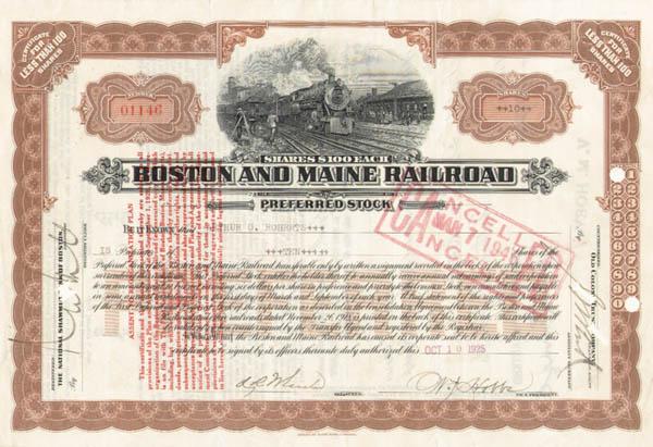 Avery Brundage - Boston & Maine Railroad - Stock Certificate