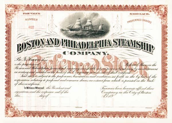 Boston and Philadelphia Steamship Company - Stock Certificate