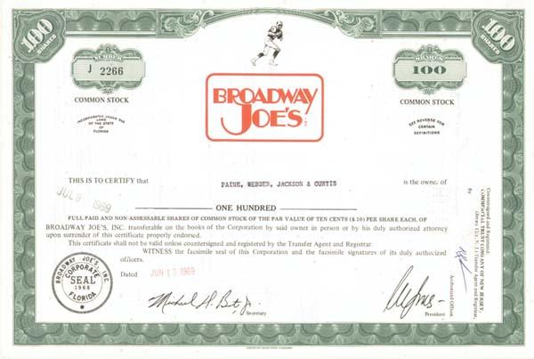 Broadway Joes' Inc
