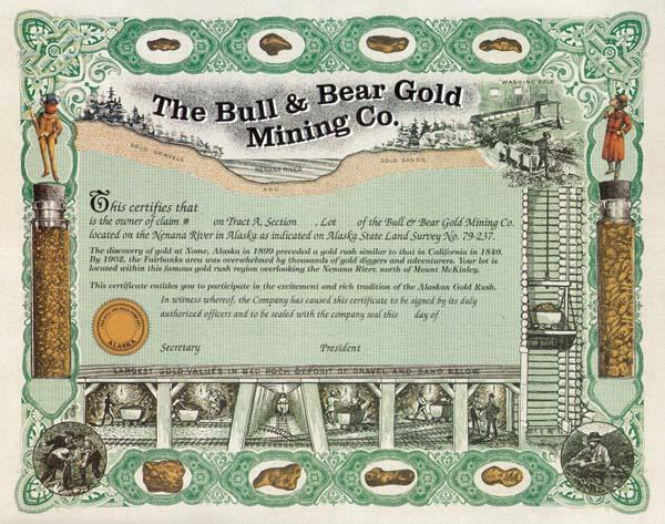 Bull & Bear Gold Mining Company - Stock Certificate