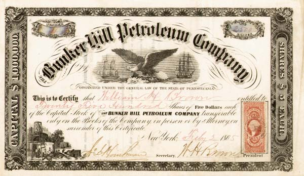 Bunker Hill Petroleum Co - Stock Certificate