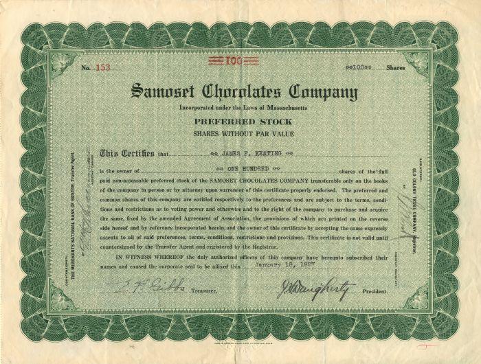 Samoset Chocolates Company - Stock Certificate