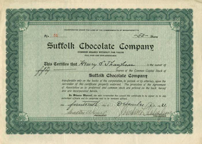 Suffolk Chocolate Company - Stock Certificate