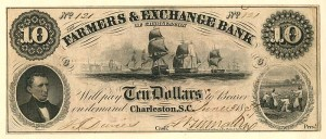 Farmers & Exchange Bank of Charleston - Obsolete Bank Note