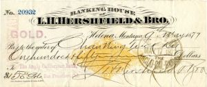 Banking House of L.H. Hershfield and Bro. - Check