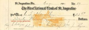 First National Bank of St. Augustine -  Check