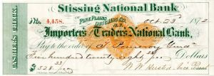 Stissing National Bank - Importer's and Traders National Bank - Check