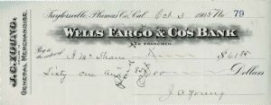 Wells Fargo and Co's Bank - Check