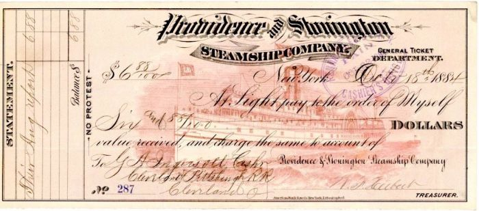 Providence and Stonington Steamship Company - Checks