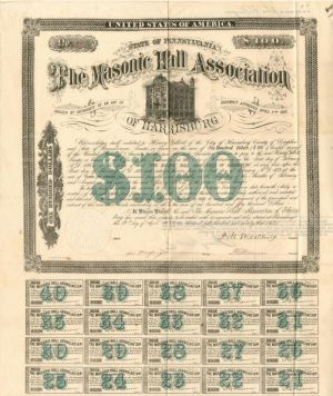 Masonic Hall Association of Harrisburg - $100 Bond