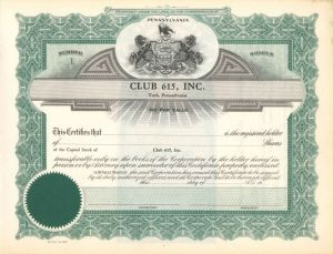 Club 615, Inc. - Certificate #1