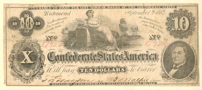 Confederate $10 Note - SOLD