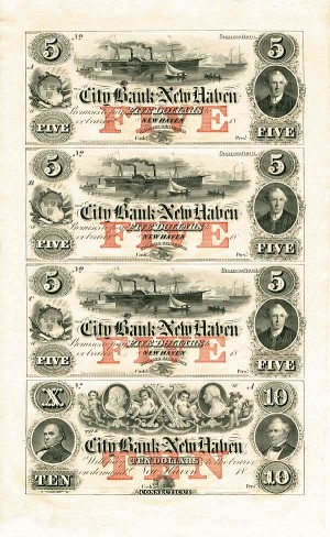 City Bank of New Haven Uncut Obsolete Sheet - Broken Bank Notes