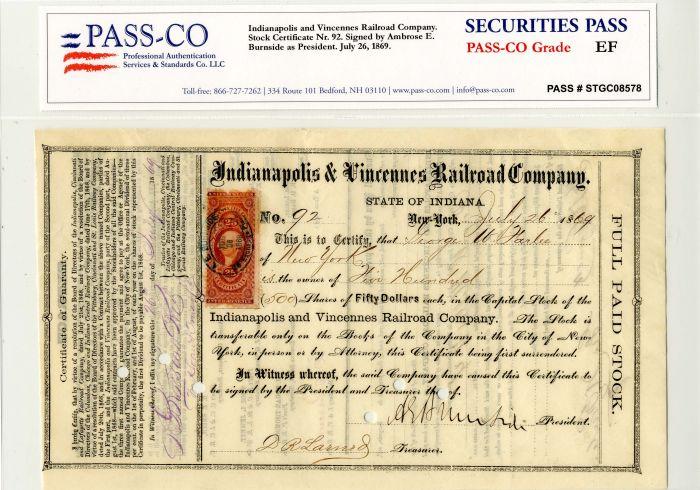 General Ambrose E. Burnside - Indianapolis and Vincennes Railroad Company - Stock Certificate