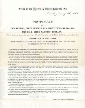 Morris & Essex Railroad Company Proposal and Order