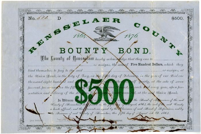 Rensselaer County Bounty Bond - $500