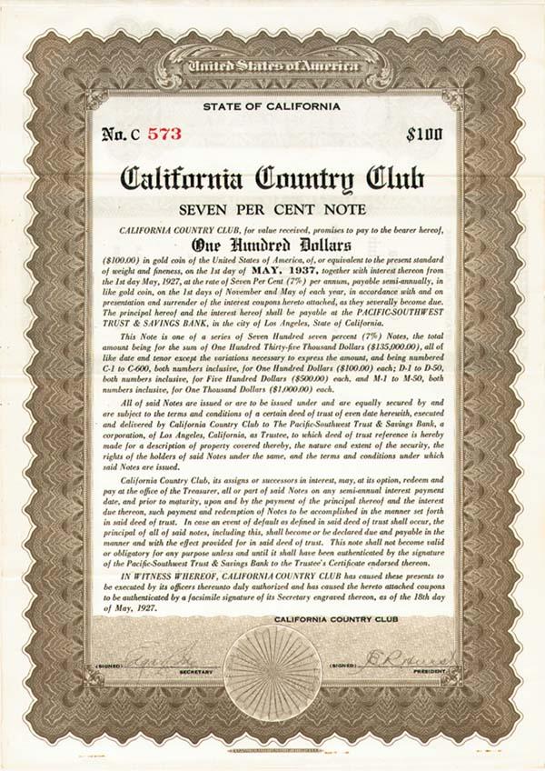 California Country Club - Bond