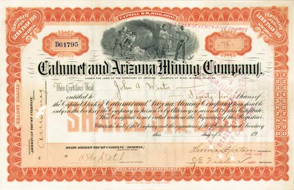 Calumet and Arizona Mining Company - Stock Certificate