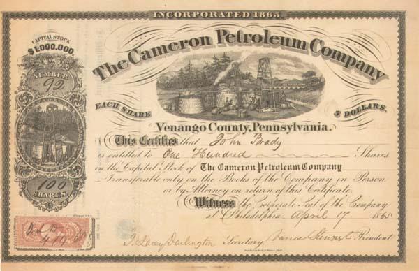 Cameron Petroleum Co - Stock Certificate