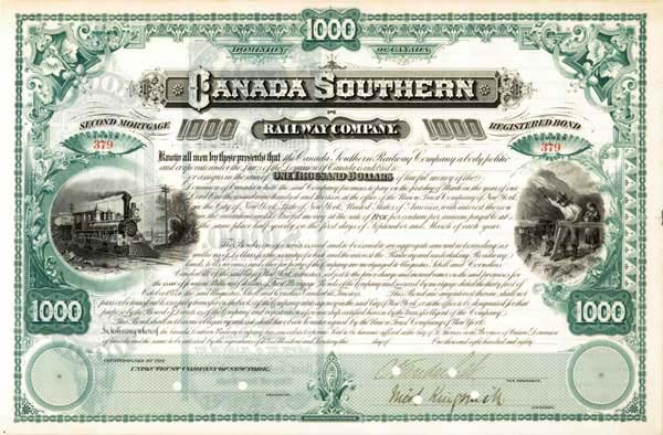 Cornelius Vanderbilt - Canada Southern Railway - Bond