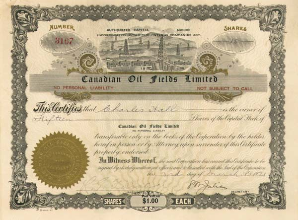 Canadian Oil Fields Limited - Stock Certificate