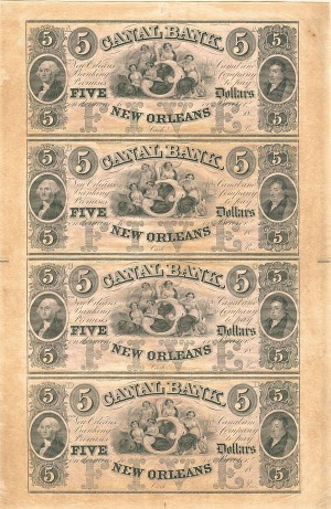 New Orleans - Canal Bank Uncut Obsolete Sheet - Broken Bank Notes
