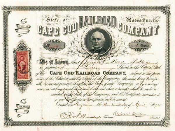 Richard Borden - Cape Cod Railroad - Stock Certificate