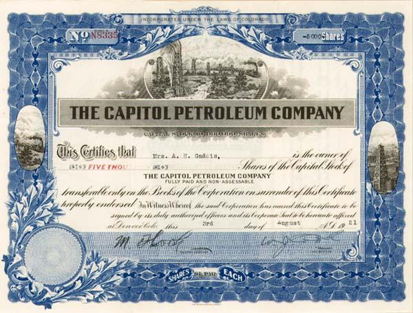 Capitol Petroleum Company - Stock Certificate (Uncanceled)