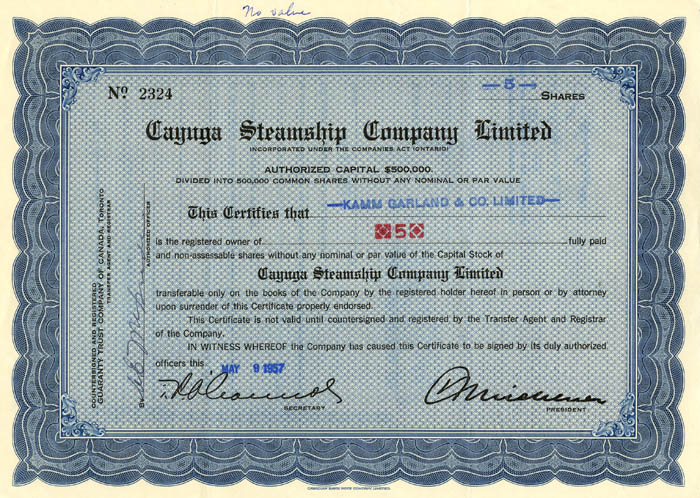 Cayuga Steamship Company Limited - SOLD