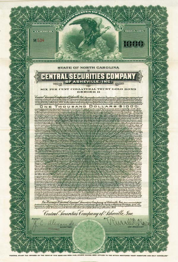 Central Securities Company of Asheville, Inc. - Bond