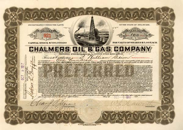 Chalmers Oil & Gas Company - Stock Certificate