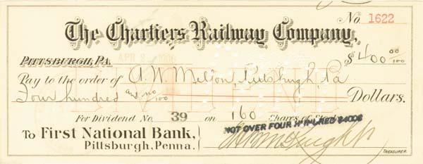 Andrew W. Mellon - Chartiers Railway Co Check - SOLD
