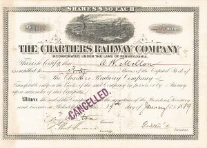 Andrew W. Mellon - Chartiers Railway Co - Stock Certificate - SOLD