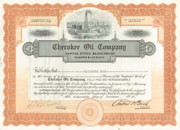 Cherokee Oil Company - Stock Certificate