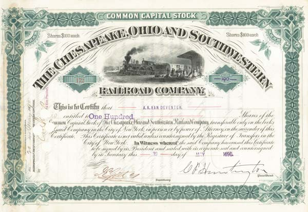 Collis P. Huntington - Chesapeake, Ohio & Southwestern Railroad - Stock Certificate
