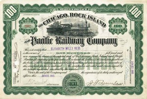 Elisabeth Mills Reid - Chicago Rock Island and Pacific Railway - Stock Certificate