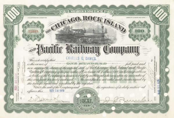 Charles Dawes - Chicago, Rock Island & Pacific Railway - Stock Certificate