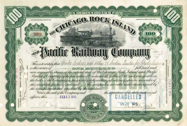 Charles and Arthur H. Scribner - Chicago, Rock Island and Pacific Railroad - Stock Certificate