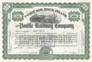 Ogden Mills - Chicago Rock Island and Pacific - Stock Certificate