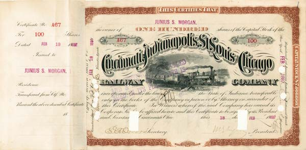Junius S. Morgan - Cincinnati, Indianapolis, St. Louis and Chicago Railway - Stock Certificate