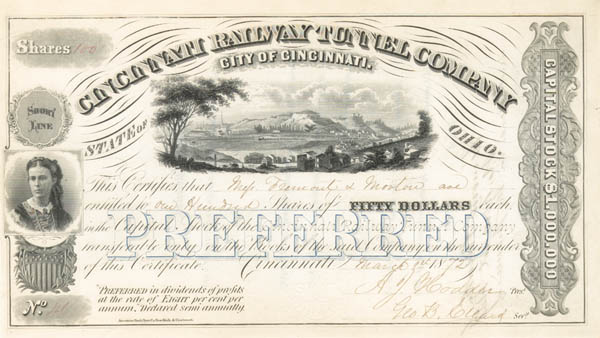 John C. Fremont - Cincinnati Railway Tunnel Company - Stock Certificate